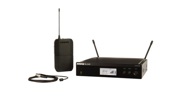 Shure Instrument System with (1) BLX4R Wireless Receiver, (1) BLX1 Bodypack Transmitter, and (1) WL93 Lavalier Microphone