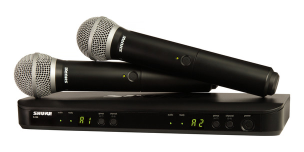 Shure Dual Vocal System with (1) BLX88 Dual Wireless Receiver and (2) BLX2 Handheld Transmitters with PG58 microphone