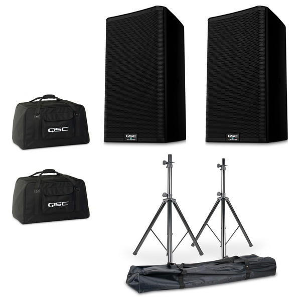 QSC K12.2 Powered Speaker Bundle with Stands and QSC Totes