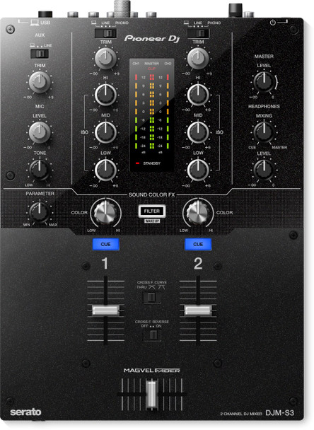 Pioneer DJ DJM-S3 2-Channel Serato Enable DJ Mixer