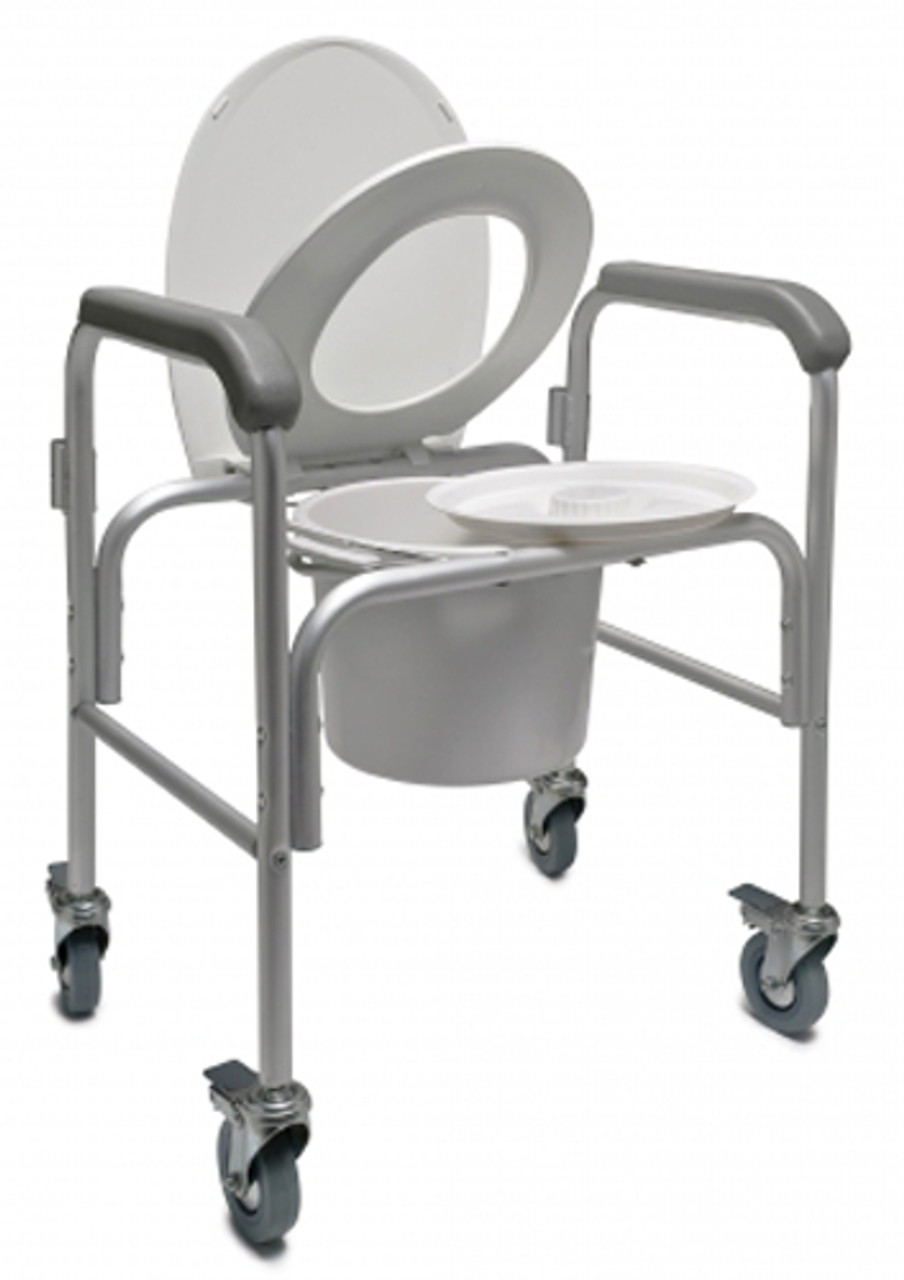 Lumex Three In One Aluminum Commode With Back Bar And Casters