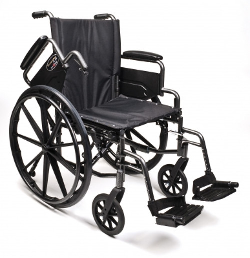 """Everest & Jennings Traveler L4 Wheelchair, - 18"""" x 16"""" with Flip-Back Full Arms and Elevating Legrests"""