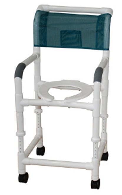 MJM Adjustable Shower Chair with Deluxe Elongated Open Front Seat