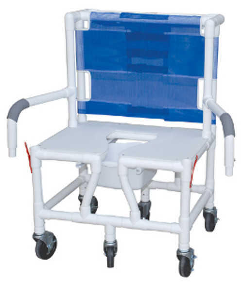 "MJM Bariatric 26"" Shower Chair with Full Support Seat, Dual Drop Arm and Square Pail"