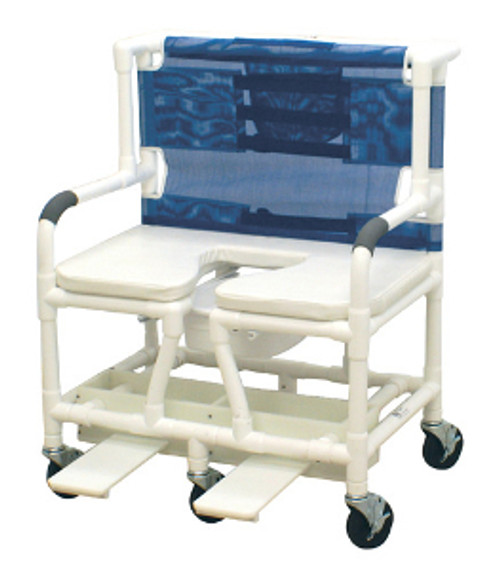 "MJM Bariatric 30"" Shower Chair with Elongated Open Front Soft Seat and Sliding Footrest"