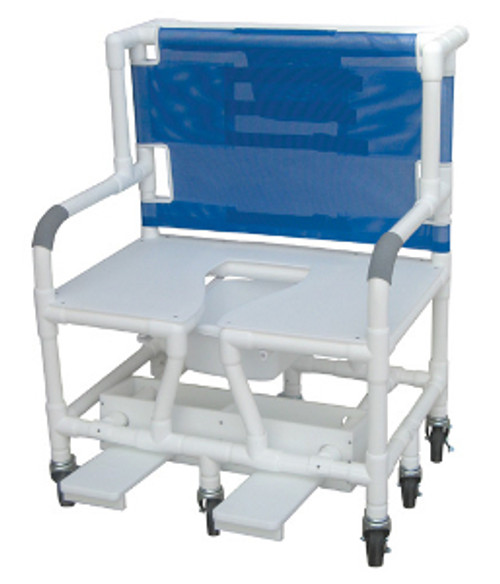 """MJM Bariatric 30"""" Shower Chair with Full Support Seat, Sliding Footrest, Square Pail and Extra Casters"""