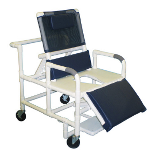"MJM Bariatric 26"" Reclining Shower Chair with Full Support Seat, Sliding Footrest, and Square Pail"