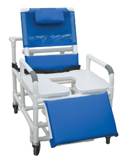 "MJM Bariatric 30"" Reclining Shower Chair with Elongated Open Front Soft Seat, Sliding Footrest, and Square Pail"