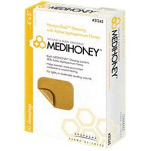 "Derma Sciences Medihoney Honeycolloid Dressings - 4"" x 5"" Non-Adhesive Border"