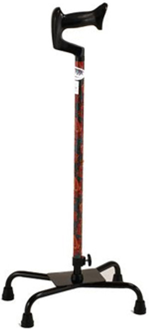 Quad Cane - Large Base - Green Paisley