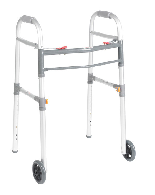 "Drive Two Button Folding Universal Walker - 5"" Wheels"