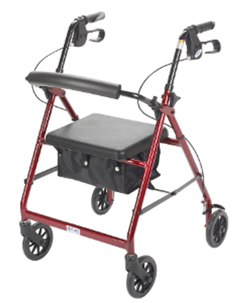 """Drive 4-Wheeled Rollator Walker with Fold Up Removable Back Support and Padded Seat - 6"""" Wheels Red"""