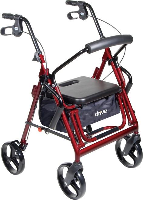Drive Duet Transport Wheelchair/Rollator Walker - Burgundy