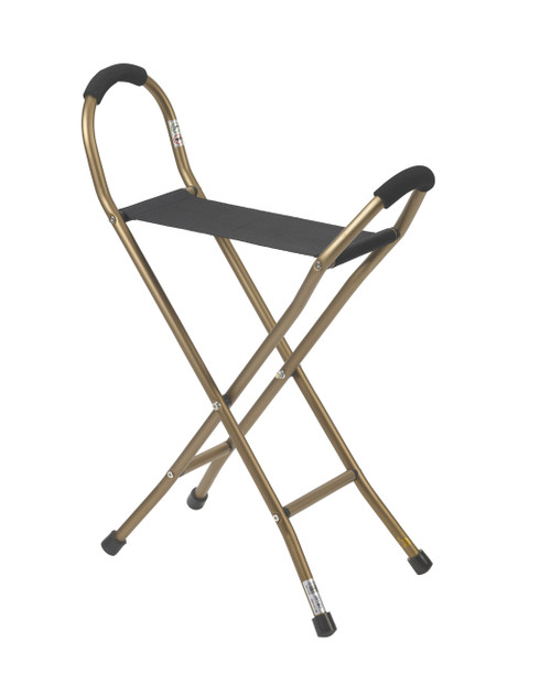 Drive Folding Lightweight Cane with Sling Style Seat - Bronze