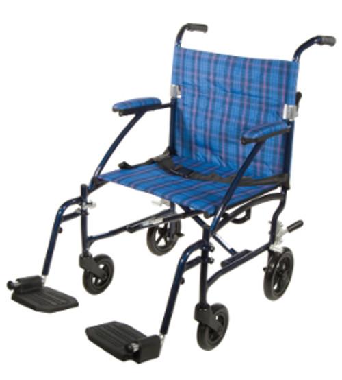 """Drive Fly Lite Ultra Lightweight Transport Wheelchair - 19"""", Blue"""