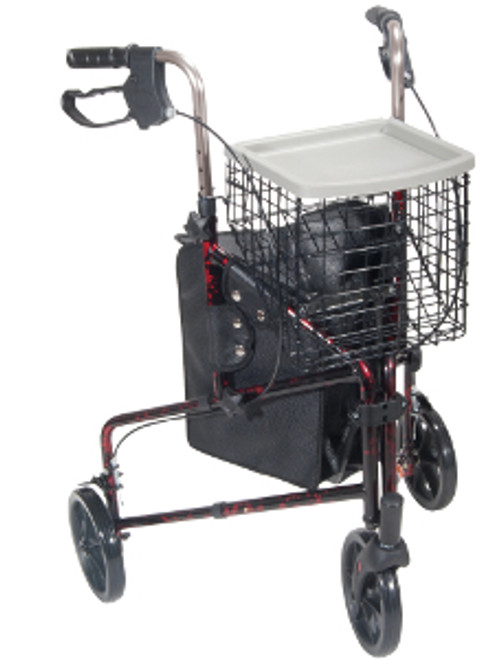 Drive 3-Wheeled Rollator Walker with Basket Tray and Pouch - Flame Red