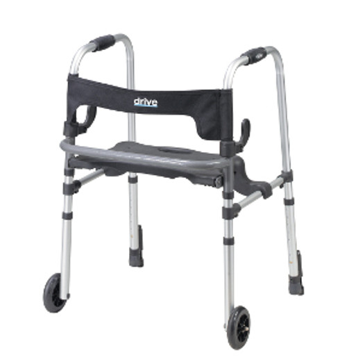 Drive Clever Lite LS 4-Wheeled Rollator Walker with Seat and Push Down Brakes