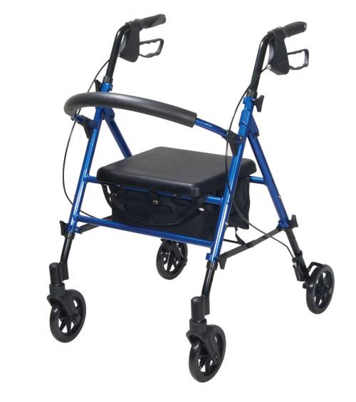 "Drive Adjustable Height 4-Wheeled Rollator Walker - 6"" Wheels, Blue"