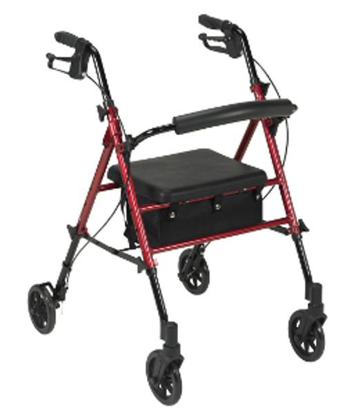 "Drive Adjustable Height 4-Wheeled Rollator Walker - 6"" Wheels, Red"