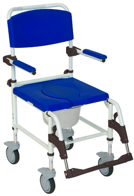 Drive Aluminum Rehab Shower and Commode Chair with Rear-locking Casters