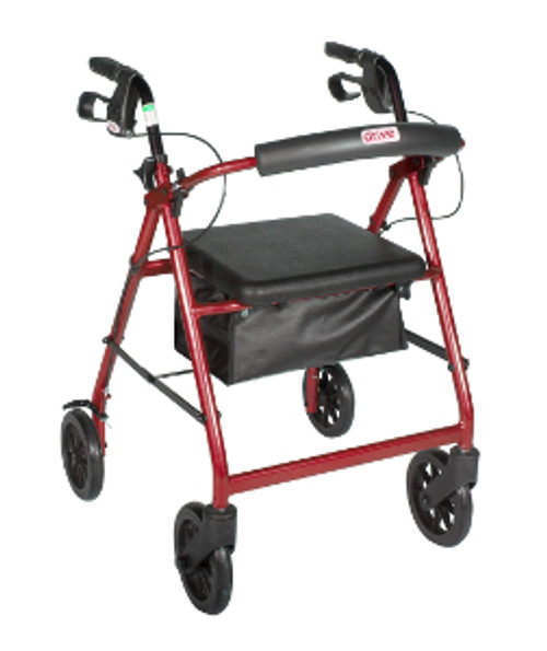 Drive 4-Wheeled Rollator Walker with Fold Up removable back support, padded seat -8'' wheels