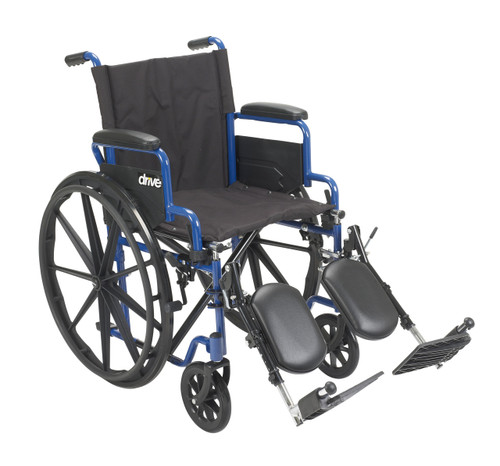 """Drive Blue Streak Manual Wheelchair - 18"""" with Flip Back Desk Arms and Swing-away, Elevating Leg rests - Blue"""