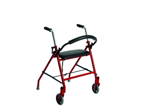 Drive Medical Two Button Walker with Wheels and Seat - Red