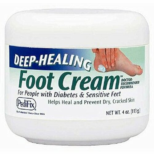 This rich, hydrating cream features mineral oil and vitamins A, D and E to moisturize and soften calluses and dry, rough skin. Our special formula penetrates deep to help heal dry, cracked areas — which is especially beneficial for people with diabetes and sensitive feet. 4 oz. jar.