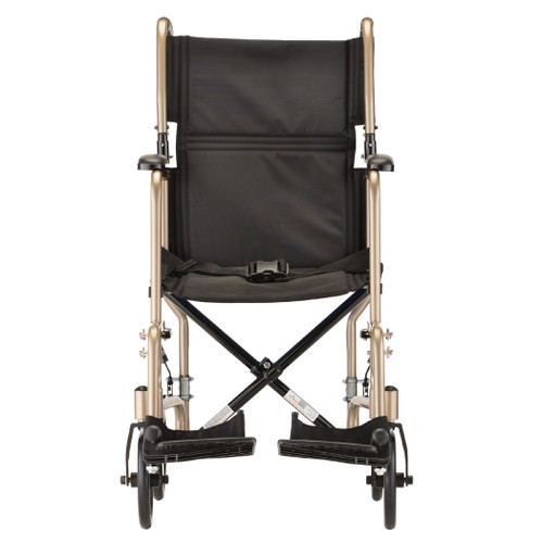 Nova 19″ Carbone Steel Foldable Transport Chair - Back - Champagne