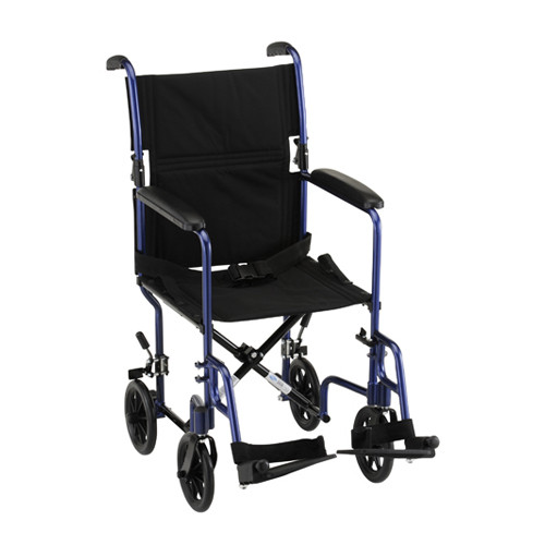 "Nova 19"" Lightweight Aluminum Frame Foldable Transport Chair - Main - Blue"