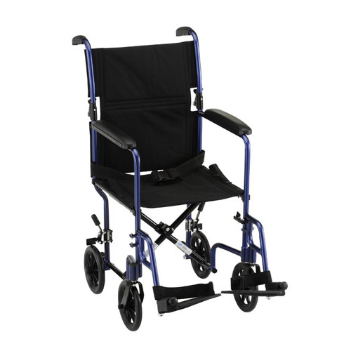 "Nova 17"" Lightweight Aluminum Frame Foldable Transport Chair with Fixed Arms - Main - Blue"