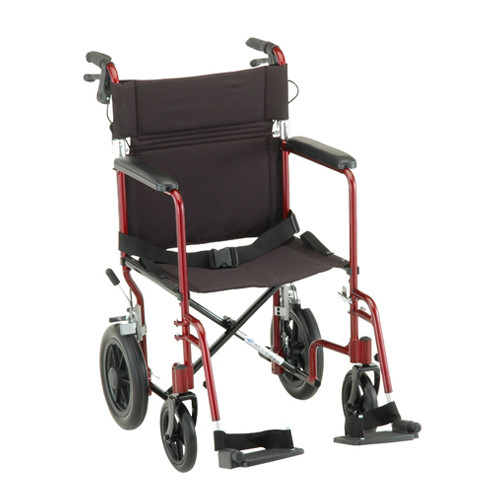 "Nova 20"" Lightweight Aluminum Frame Foldable Transport Chair with 12″ Rear Wheels - Main - Red"