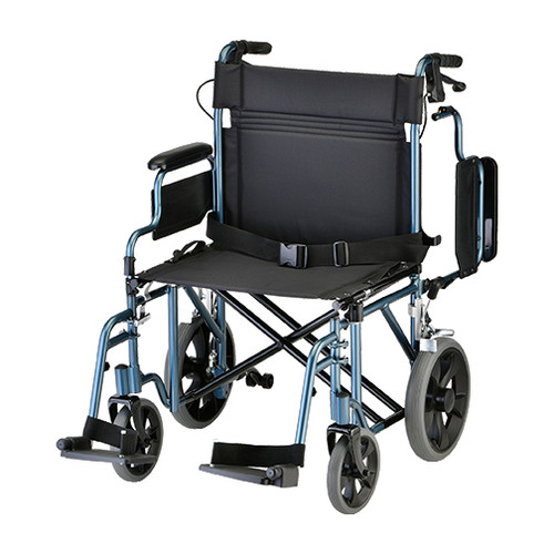 "Nova 22"" Lightweight Aluminum Frame Foldable Transport Chair with 12″ Rear Wheels - Main - Blue"