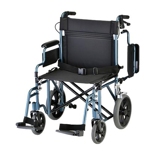 "Nova 22"" Lightweight Aluminum Frame Foldable Transport Chair with 12″ Rear Wheels - Main - Blue"
