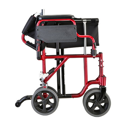 """Nova 19"""" Lightweight Aluminum Frame Foldable Transport Chair with Detachable Arms - Fold - Red"""