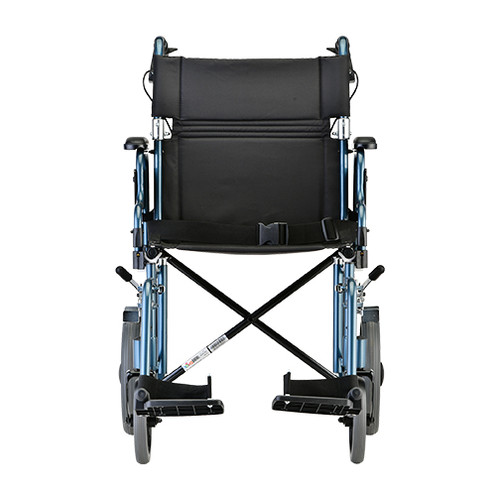 Nova 19 inch Transport Chair with 12″ Rear Wheels - Back - Blue