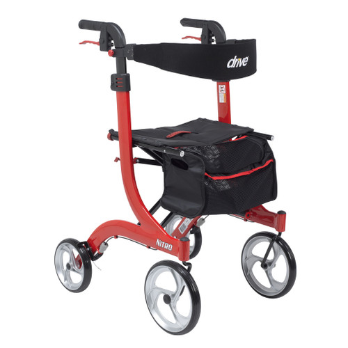 Drive Medical Nitro Aluminum Euro Style Walker Rollator - Tall - Front - Red