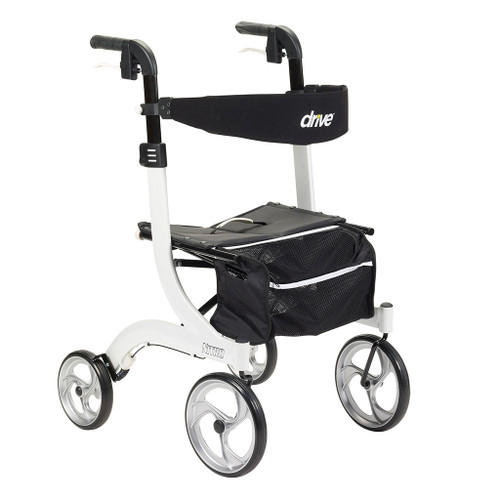 Drive Medical Nitro Aluminum Euro Style Walker Rollator in White - Front
