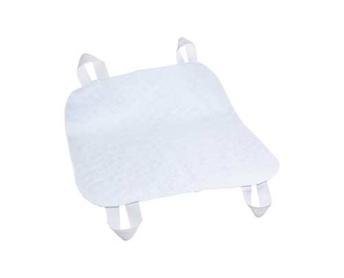 """Essential Medical Quik Sorb 34"""" x 35"""" Brushed Polyester Reusable Underpad with Positioning Straps"""
