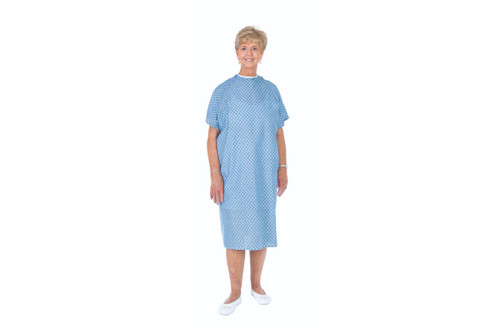 Essential Medical Reusable Cloth Patient Gown with Fashion Print - Print on Blue