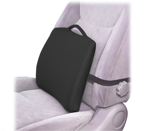 Essential Medical Lumbar Cushion with Elastic Strap and Black Cover for Bucket Seats - MainImage