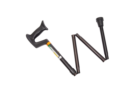 Essential Medical Folding Cane with Plastic Handle in Black - MainImage