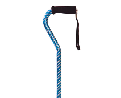 Essential Medical Laser Cut Dazzling Offset Cane - Blue - MainImage