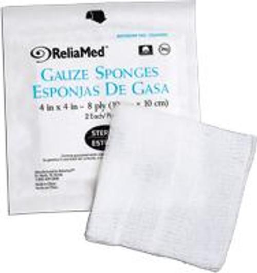 "ReliaMed Gauze Dressing/Sponge, Sterile, 4"" x 4"", 12 Ply , 25/Tray"