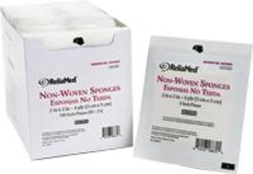 """ReliaMed Non-Woven Gauze Sponges, 2"""" x 2"""", Sterile 2's, 50 / Box"""