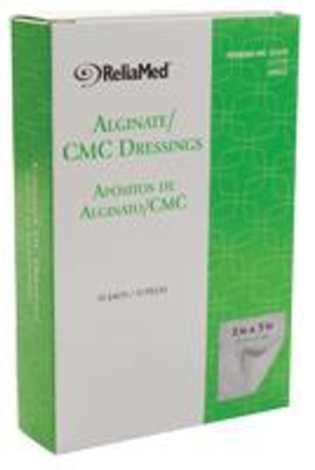 "ReliaMed Alginate/CMC Dressings, 2"" x 2"" Pads, Sterile, 10/Box"
