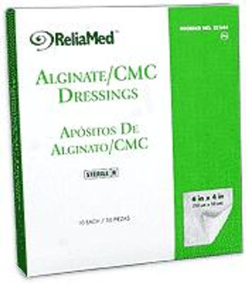 "ReliaMed Alginate/CMC Dressings, 4"" x 4"" Pads, Sterile, 10/Box"