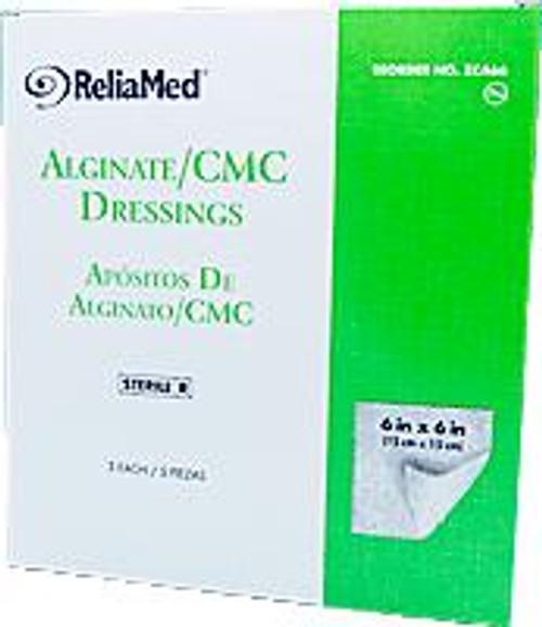 "ReliaMed Alginate/CMC Dressings, 6"" x 6"" Pads, Sterile, 5/Box"