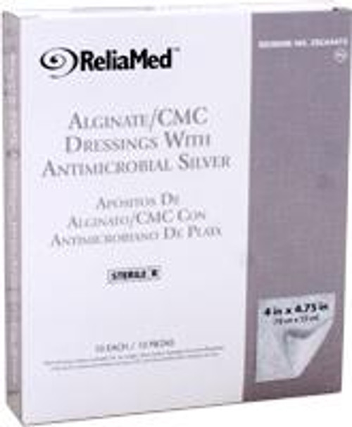 "ReliaMed Silver Alginate/CMC Dressings, 4"" x 4 3/4"" Pads, Sterile, 10/Box"