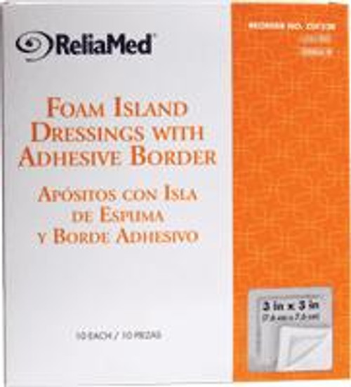 """ReliaMed Foam Island Dressing with Adhesive Border, Sterile 3"""" x 3"""", 10/Box"""